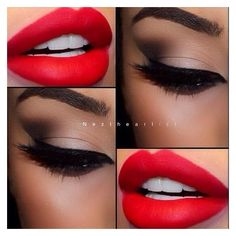 Makeup Ideas with Red Lipstick ❤ liked on Polyvore featuring beauty products, makeup, lip makeup and lipstick