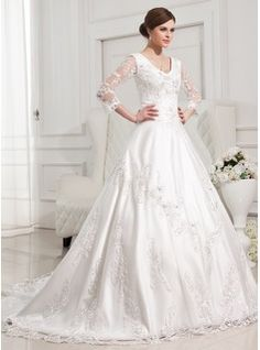 Ball-Gown V-neck Chapel Train Satin Tulle Wedding Dress With Lace Beading (002012846) - JJsHouse