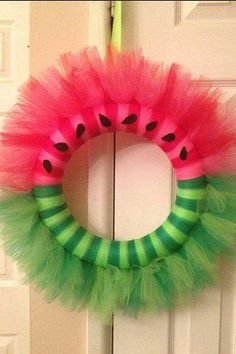 Watermelon Tulle Wreath by EmilysCreations2014 on Etsy, $25.00