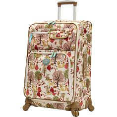 "Lily Bloom Forest Owl 28"" Exp Spinner (1.265 ARS) ❤ liked on Polyvore featuring bags, luggage and white"