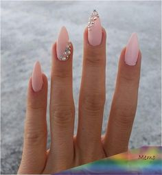 nails в 2019 г. pretty nails, cute nails и nail des Gem Nails, Diamond Nails, Pink Nails, Hair And Nails, Nails With Diamonds, Acrylic Nails Almond Shape, Best Acrylic Nails, Almond Nail Art, Classy Nails