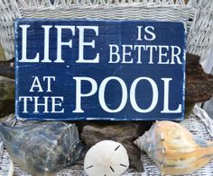 Life Is Better At The Pool, Pool Sign, Outdoor Decor, Wood Sign, Pool Decor, Summer, Hand Painted via {Etsy}
