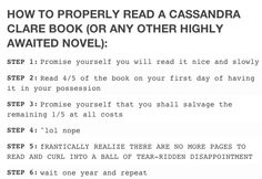 how to read a Cassandra Clare novel!