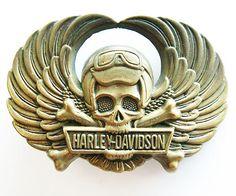Vintage 70s Harley Davidson Skull and Cross Bones Belt Buckle. $125.00, via Etsy.