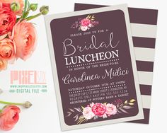 Floral Bridal Luncheon Invitation, Shabby Chic Bridesmaid Brunch, Pink and Gold, Rustic Bridal Shower, Tan and Plum Stripes PRINTABLE INVITE by shopPIXELSTIX on Etsy