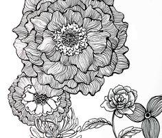 flower line drawing Art Print