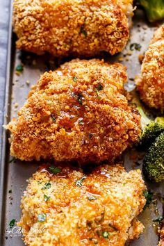 Oven Fried Chicken + Broccoli + Honey Garlic Sauce | http://cafedelites.com
