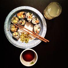 Home made sushi and ginger mojito.