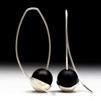 Geoffrey D. Giles silver hanging drop handmade earrings with black onyx.