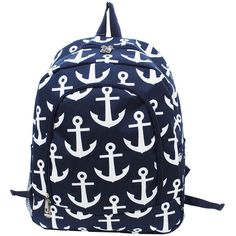 Anchor Print Backpack ($25) ❤ liked on Polyvore featuring bags, backpacks, print bags, rucksack bag, blue backpack, strap backpack and pattern backpack