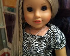 American Girl Doll Clothes-Zebra Print Top Constructed Using a Liberty Jane Pattern, Faux Leather Skinny Pants, Belt, Hair Ribbon,  Necklace