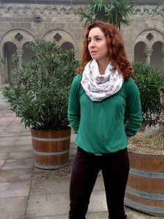 Artisara vegan scarf FLOWERS IN FALL, made of  100% cotton, made in Europe. www.artisara.com