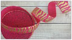 5/8 SHOCKING Pink Gold Foil Zebra/Tiger Fold Over Elastic