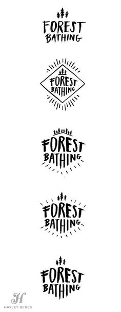 Forest Bathing hand-lettered logo concepts