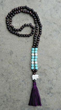 wood mala beads with elephant and tassel by BeadsByMelissa on Etsy, $14.00
