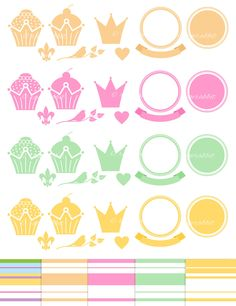 Royal Cupcakes Vector Illustration Set and Digital Papers, Emblems, Badges, Ribbons, Hearts, Crowns, Birds, Bakery, Logo Creator, Clip Arts by RageRabbit on Etsy