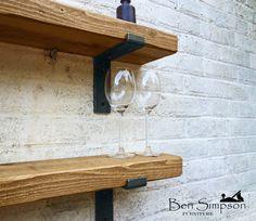 Rustic Chunky Industrial Shelf Shelves Metal Brackets Solid Wood 22cm Depth LB22