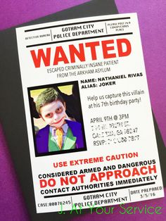 Joker Villain Wanted Poster Invitation PRINTABLE by Jatyourservice Suicide Squad Party