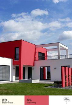 7)Odważna, kolorowa elewacja podkreśla nowoczesny kształt tego budynku, składający się jakby zniezależnych poskładanych ze sobą części okubicznych kształtach.