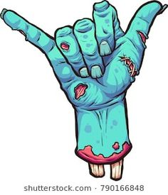 Severed zombie hand making the hang loose hand sign. Severed zombie hand making the hang loose hand sign. Vector clip art illustration with simple gradients. Graffiti Art, Graffiti Drawing, Arte Zombie, Zombie Art, Zombie Cartoon, Cartoon Art, Zombie Drawings, Art Drawings, Zombie Illustration