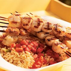 Grilled Scallops with Tomato-Mint Sauce and Orzo | Coastalliving.com