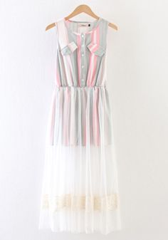 Multicolor Striped Patchwork Grenadine Hollow-out Dress
