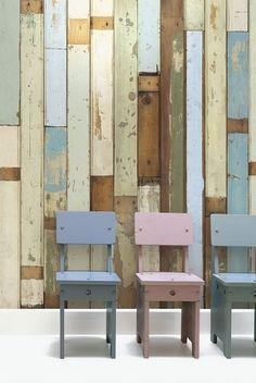 pastel scrap wood wall #DIY