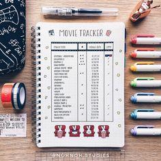 Movie Tracker Bullet Journal - Trend Home - Trending Pins Bullet Journal Headers, Bullet Journal Tracker, Bullet Journal 2019, Bullet Journal Spread, Bullet Journal Layout, Bullet Journal Inspiration, Journal Pages, Journal Ideas, Bullet Journal Netflix