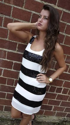 Black Sequin Stripes Dress