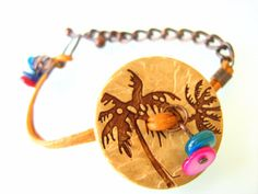 Button bracelet Camel color leather cord by NMNHANDMADE on Etsy, $13.99
