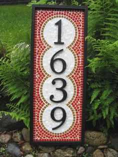 Custom Four Number 'East Side Garden' Address Sign by peartreeri
