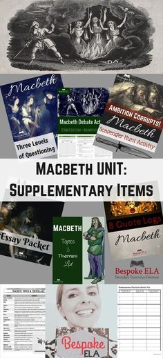 This unit by Bespoke ELA contains products to supplement any Macbeth unit. This bundle includes: 1. Aristotle and Shakespeare: Excerpts, Discussion Questions, Debate, & MORE! 2. Macbeth Debate Activities-- Essential Debate Questions to Deepen Understandi