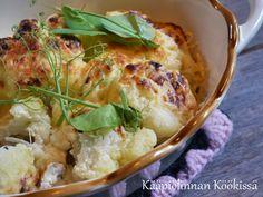 Kääpiölinnan köökissä: Sinappigratinoitu kukkakaali ♥ Potato Salad, Cauliflower, Potatoes, Vegetables, Ethnic Recipes, Food, Cauliflowers, Potato, Essen