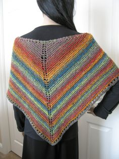 Handknit rainbow multicolored shawl by StyleTricotee on Etsy