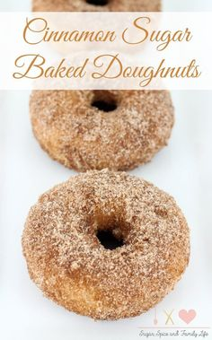 Cinnamon Sugar Baked Doughnuts are a delicious breakfast treat that everyone will love. These baked donuts are coated with cinnamon sugar for a sweet treat that is great with a cup of hot coffee. - Cinnamon Sugar Baked Doughnuts Recipe on Sugar, Spice and Family Life: