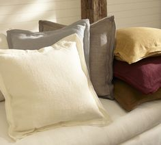 Linen with Silk Trim Cushion Cover