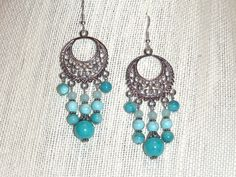 Turquoise and Silver Chandelier Earrings - natural stone bead shell earrings boho jewelry