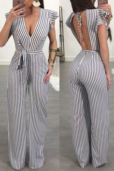 Ladies-Women-Summer-Jumpsuit-Backless-Clubwear-Wide-Leg-Pant-Summer-Outfits-Size - April 20 2019 at Mode Outfits, Stylish Outfits, Cute Dress Outfits, Couple Outfits, Clubwear, Summer Fashion Outfits, Fashion Dresses, Fashion Ideas, Fashion Clothes