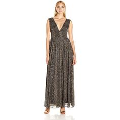 Aidan by Aidan Mattox Women's V Neck Long Crinkle Lurex Gown with... ($80) ❤ liked on Polyvore featuring dresses, gowns, long gown, plunging v neck dress, v neck evening gown, v-neck dresses and brown dress