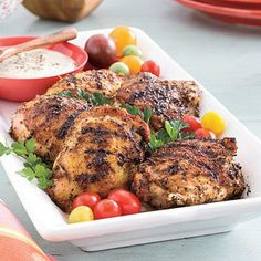 Grilled Chicken With White Barbecue Sauce is the perfect main dish for a backyard barbecue. The white sauce is our highest rated! #SLSummerRecipes