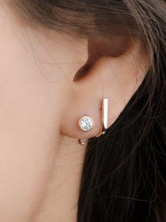 Bar Stud Earrings-Hook Stud Earrings-Dainty Minimalist Earrings-Hook Hoop Earrings-Post Earrings-Bridesmaid Gift-Sleeper - Two holes earrings - ohrschmuck Sterling Silver Earrings Studs, Gold Earrings, Silver Jewelry, Fine Jewelry, Gold Bracelets, Women's Jewelry, Swarovski Jewelry, Modern Jewelry, Silver Rings