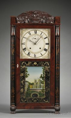 Mahogany shelf clock by Eli Terry & Sons on Connecticut, circa 1825