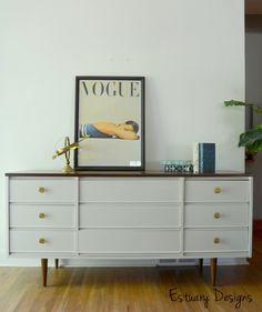 Mid Century Modern Dresser Makeover by Estuary Designs