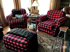 Buffalo Plaid, Buffalo Plaid Chair, Buffalo Plaid, Cabin style, Cabin Decor, Log Cabin, Cabin furniture