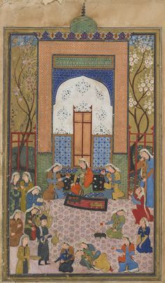 Arts of the Islamic World | Folio from a <i>Yusuf and Zulaykha</i> by Jami (d. 1492); recto: Egyptian women overwhelmed by Yusuf's beauty; verso: text, Egyptian women cut their hands at the sight of Yusuf's beauty | F1967.6