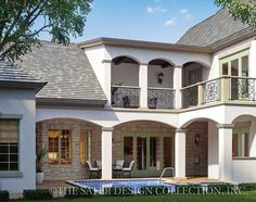 The Avignon Home Plan l Rear Elevation l Sater Design Collection l French Country House Plans French Country House Plans, Country Style Homes, French Country Style, French Country Decorating, European Style, European House, Courtyard House Plans, Custom Home Plans, Luxury House Plans