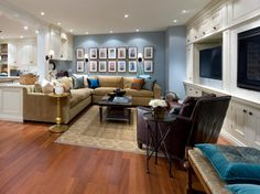 10 Chic Basements by Candice Olson : Rooms : Home & Garden Television. Love the art display (use in family room?)