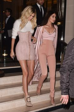Kendall Jenner & Gigi Hadid - Pink Balmain outfits