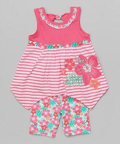 Look what I found on #zulily! Pink & White Flower Tank & Shorts - Toddler & Girls by Nannette Girl #zulilyfinds