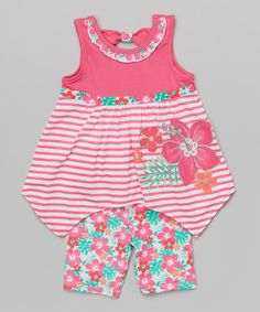 Look what I found on #zulily! Pink & White Flower Tank & Shorts - Toddler & Girls by Nannette Girl #zulilyfinds